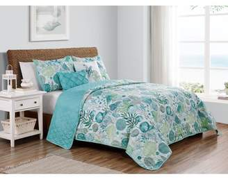 Vcny Home VCNY Home Ivory Coast Reversible Seashell Quilt Set, Full/Queen, Ivory/Blue