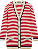 Gucci Striped Stretch Cotton-blend Cardigan - Red