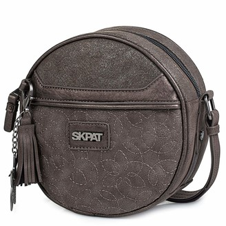 SKPAT - Circular Shoulderbag with Adjustable Strap. Decorative Keyring. Woman. Zipper Closing. Printed linner. Outside and Inside Pockets. Canvas and Synthetic Leather. 303884 Color Brown