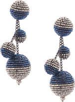 Oscar de la Renta triple beaded ball earrings