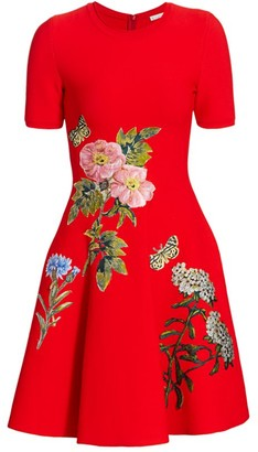 Oscar de la Renta Embroidered Floral Knit Fit-&-Flare Dress