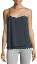 Zadig & Voltaire Sweetheart Scalloped Silk Camisole, Charcoal