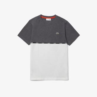 Lacoste Men's SPORT Crew Neck Lightweight Bicolour Cotton T-shirt