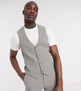 Asos DESIGN Tall wedding super skinny suit suit vest in gray wool blend micro houndstooth