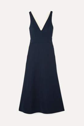 La Ligne Bardot Cutout Crepe Midi Dress - Navy