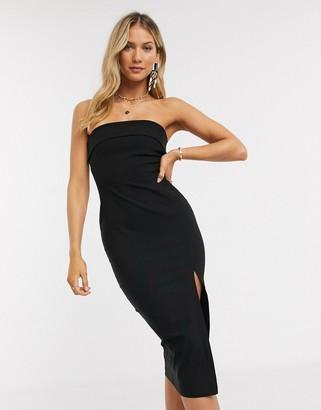 Vesper bandeu midi dress in black