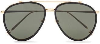 Linda Farrow Aviator-style Gold-tone And Acetate Sunglasses