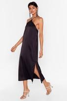 Nasty Gal Womens At Ease Satin Halter Midi Dress - black - 6