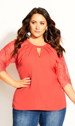 City Chic Short Lace Sleeve Top - coral
