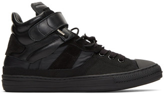 Maison Margiela Black Mix Fabric High-Top Sneakers