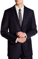 Hickey Freeman Classic Fit Navy Solid Two Button Notch Lapel Blazer