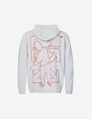 Off-White Brand-embroidered cotton-blend knitted hoody