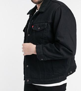 Levi's Big & Tall sherpa lined denim trucker jacket in berk washed black