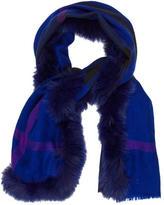 Burberry Fur-Trimmed Nova Check Scarf