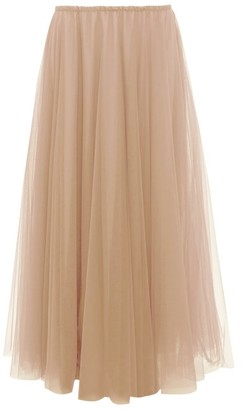 Raey Elasticated-waist Tulle Maxi Skirt - Nude