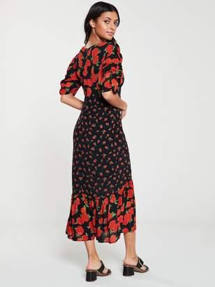 Very Mixed Print Midi Dress - Black/Floral