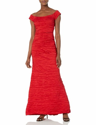 Alex Evenings Women's Long Fitted Off The Shoulder Dress