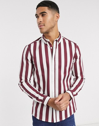 ASOS DESIGN skinny fit shirt in burgundy stripe