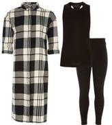 River Island Girls black check shirt top leggings outfit