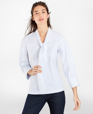 Brooks Brothers Non-Iron Striped Stretch Supima Cotton Blouse