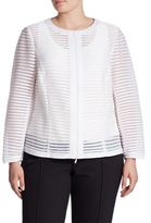 Lafayette 148 New York, Plus Size Catrice Mesh Striped Jacket