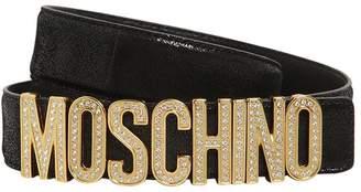 Moschino 35MM METALLIC LEATHER BELT W/LOGO