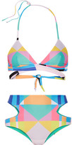 Mara Hoffman Reversible Printed Cutout Bikini - Turquoise