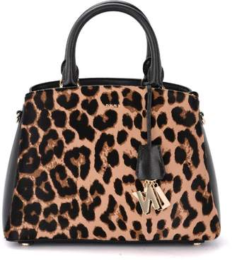 DKNY Paige Shoulder Bag In Black Saffiano Leather And Spotted Pony
