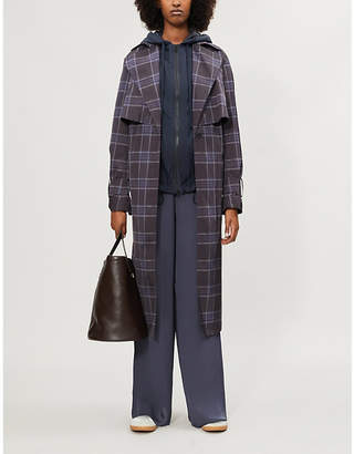 Vince Plaid shell trench jacket
