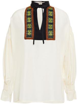 Etro Pleated Embellished Silk Blouse