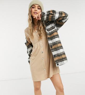 Reclaimed Vintage inspired mini smock dress in stone cord