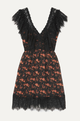 Charo Ruiz Ibiza Vir Crocheted Lace-paneled Floral-print Cotton-blend Voile Dress - Black