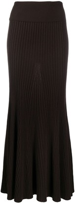 Kenzo Ribbed Pleated Long Skirt