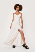 Thumbnail for your product : Nasty Gal Womens Linen Strappy Button Down Maxi Dress - Cream - 4