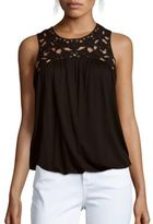 Max Studio Lace Embroidered Sleeveless Solid Top