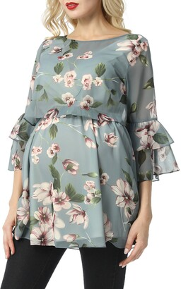 Kimi and Kai Audrey Floral Maternity/Nursing Popover Blouse