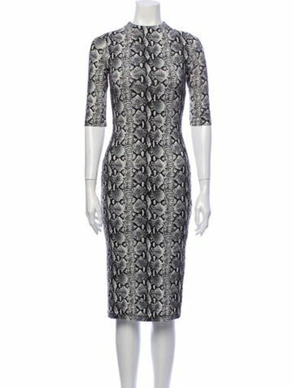 Alice + Olivia Lace Pattern Midi Length Dress w/ Tags Black