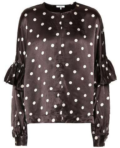 Ganni Polka-dot satin blouse