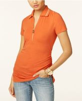 MICHAEL Michael Kors Ruched Zip Polo Top