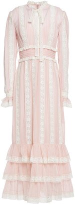 Zimmermann Tiered Ruffled Lace And Cotton And Silk-blend Mousseline Maxi Dress
