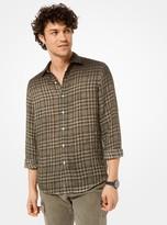 Michael Kors Slim-Fit Dip-Dye Plaid Linen Shirt
