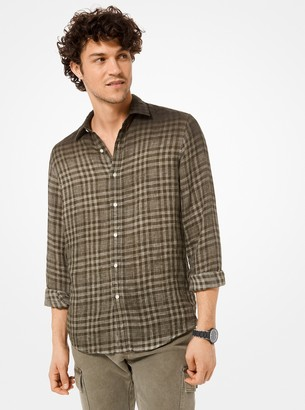Michael Kors Slim-Fit Dip-Dye Plaid Linen Shirt