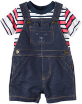Carter's Baby Boy Striped Tee & Denim-Like Shortalls Set