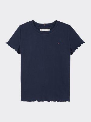 Tommy Hilfiger Organic Cotton Rib-Knit Ruffle T-Shirt