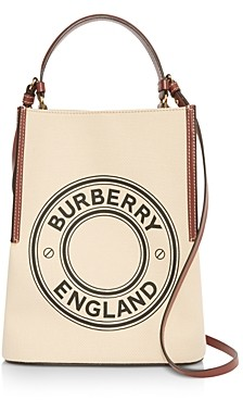 Burberry Small Logo Graphic Cotton Canvas Peggy Bucket Bag