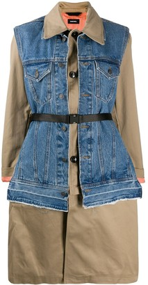 Diesel Denim-Vest Trench Coat