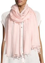 Eileen Fisher Organic Cotton Twill Pompom Wrap, Shell