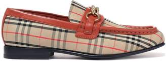 Burberry Embellished Leather-trimmed Checked Canvas Loafers