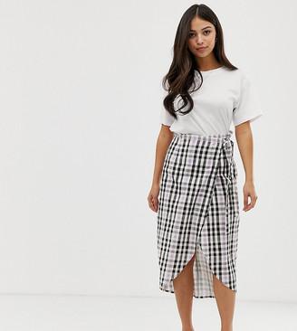 Asos DESIGN Petite wrap midi skirt with tie in gingham print