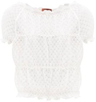 Missoni Ruffled Diamond-pointelle T-shirt - White
